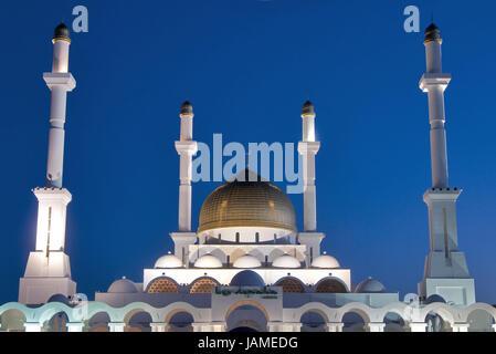 Kazakhstan,main mosque in Astana,dusk, - Stock Photo