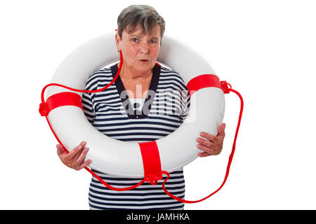 Seniorin mit Rettungsring - Freisteller - Stock Photo