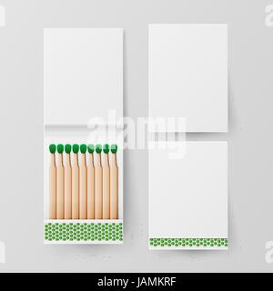 Book Of Matches Vector. Top View Closed Opened Blank. For Adding Your Packing Design And Advertising. Realistic - Stock Photo