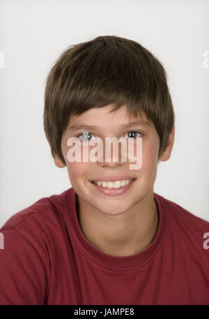 Boy,smile brown-haired,portrait,studio,teenager,dark-haired,cogs,young persons,T-shirt,red,natural,calmly,youth,brown,happily,freckles, - Stock Photo