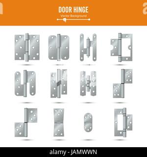 Door Hinge Vector. Set Classic And Industrial Ironmongery Isolated On White Background. Simple Entry Door Metal - Stock Photo