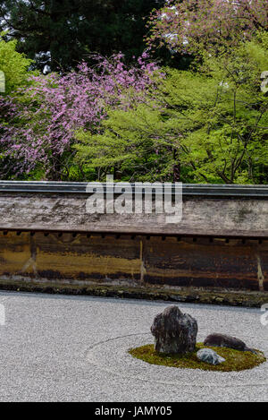 Karesansui, raked rock garden, Ryoanji temple. Typical japanese zen garden. - Stock Photo