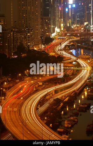 Island Eastern Corridor Motorway through Causeway Bay and  Wan Chai, Hong Kong, China - Stock Photo