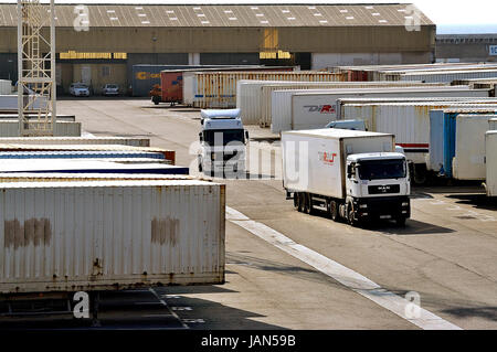 FOS-SUR-MER - FRANCE – MARCH 7, 2011: A transport company lorry driver on the wearing of Fos-sur-Mer close to Marseilles - Stock Photo