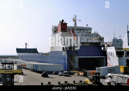 FOS-SUR-MER - FRANCE – MARCH 7, 2011: The quay where the ferry make the loading of all kind of goods. - Stock Photo