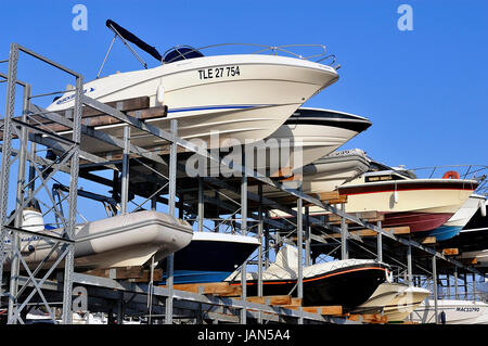 FOS-SUR-MER - FRANCE – MARCH 7, 2011: company of guarding and storage of boats except season for the pleasure - Stock Photo