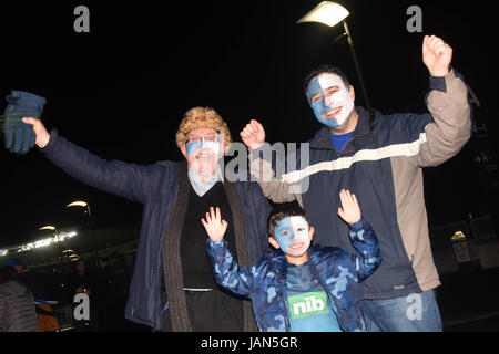New Zealand Provincial rugby team Blue fans support their team ahead match between the Blues and the British and - Stock Photo