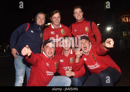 British and Irish Lions fans supports their team ahead match between the Blues and the British and Irish Lions at - Stock Photo