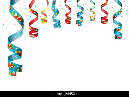 streamers and confetti as decoration for parties, sylvester isolated, hanging with white background - Stock Photo