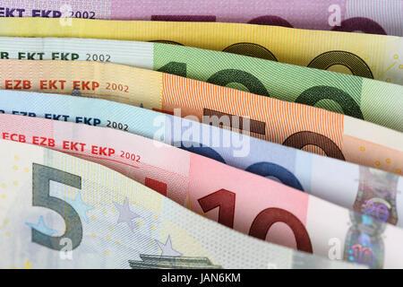 Alle Euro Scheine der Europäischen Union hintereinander - Stock Photo