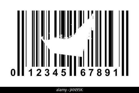 United Arab Emirates  shopping bar code isolated on white background. - Stock Photo