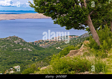 Town of Karlobag and island of Pag aerial view from Velebit mountain, Croatia - Stock Photo