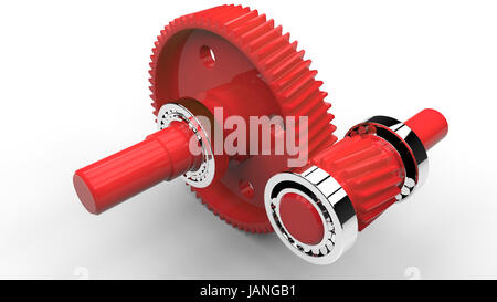 Two plastic gears ang balls bearings isolated on white background - Stock Photo