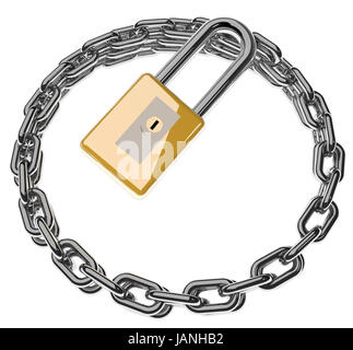 3d render of lock and metal chains isolated over white - Stock Photo