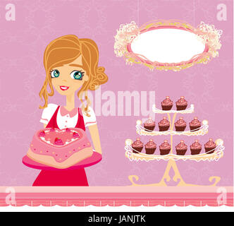 beautiful saleswoman in a bakery - Stock Photo
