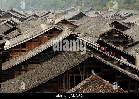 China, Zhaoxing - gorgeous Dong village is packed whit traditional wooden structures, several wind-and-rain bridges - Stock Photo