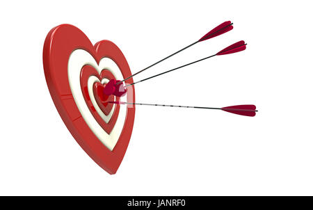 Arrow on archery red heart shape target board bullseye isolated on heart shaped target and arrow 3d render on the white background stock photo altavistaventures Image collections