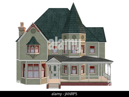 3D digital render of a beautiful Victorian house isolated on white background - Stock Photo