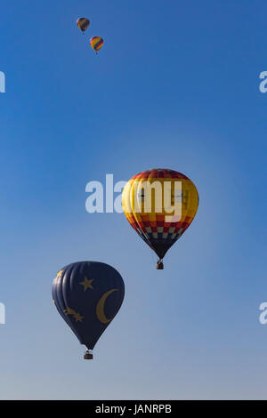 Balloons flying over winery vineyards in Southern California - Stock Photo