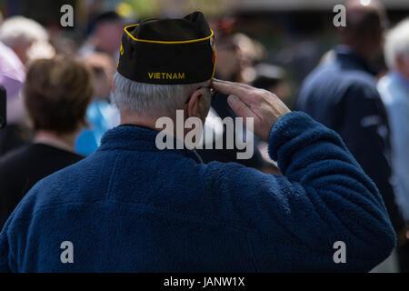 Salute of a Vietnam war veteran - Stock Photo