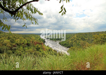Looking out over Murchison Falls National Park in Uganda. - Stock Photo