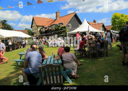 People at summer village fete, Thorpeness, Suffolk, England, UK - Stock Photo
