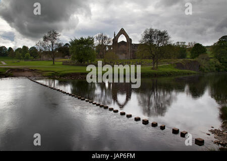 Bolton Abbey Priory and Stepping Stones, Wharfedale, Yorkshire Dales - Stock Photo