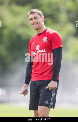 Hensol, Wales, Uk. 07th June, 2017. Hensol, Wales, UK, June 7th 2017. Sam Vokes during Wales national team training - Stock Photo