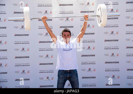 Athlete Javier Gomez Noya during an act of the signature '' Bridgestone '' (Persigue your dream overcomes the obstacles) - Stock Photo