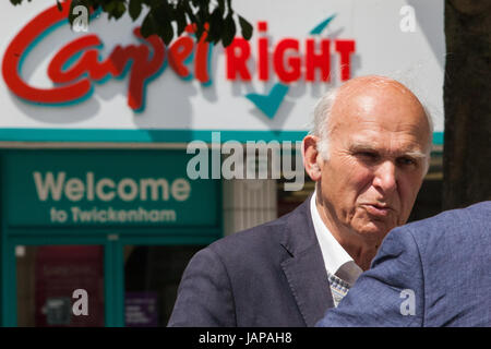 Twickenham, UK. 7th June, 2017. Liberal Democrat candidate Vince Cable is interviewed on the last day of campaigning - Stock Photo