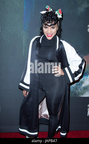 """Los Angeles, USA. 06th June, 2017. Jhene Alko attends the Premiere of Riveting Entertainment's """"Chris Brown: Welcome - Stock Photo"""