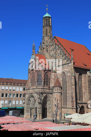 Nuremberg, The Frauenkirche, Church of Our Lady, Middle Franconia, Bavaria, Germany - Stock Photo
