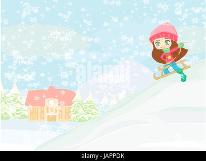 Little girl sledding - vector illustration - Stock Photo