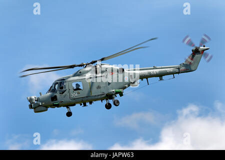 A Royal Navy Fleet Air Arm Westland Lynx HMA.8DS helicopter at the RNAS Yeovilton International Air Day, Somerset, - Stock Photo