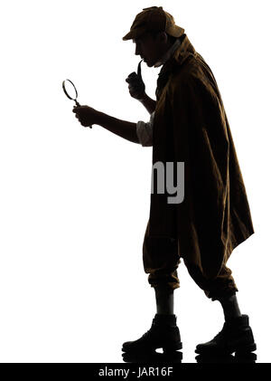 sherlock holmes silhouette in studio on white background Stock