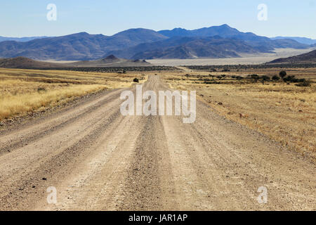 Bumpy road to mountains and through dry desert grassland.