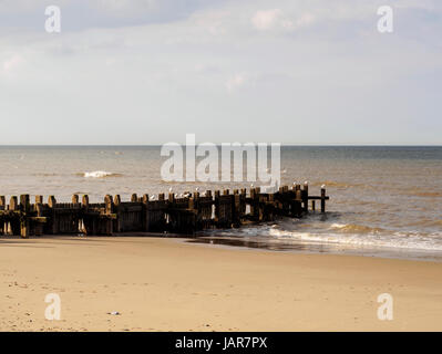 Wooden groyne, a part of the sea defences at Walcott on the North Norfolk coast. - Stock Photo