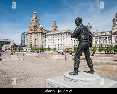 Statue to Captain F.J.Walker CB DSO in front of the Three Graces Buildings Liverpool UK - Stock Photo
