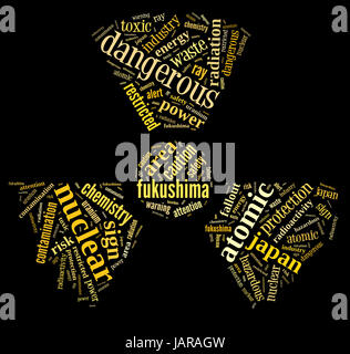 nuclear contamination warning sign word cloud on fukushima with yellow wordings on black background - Stock Photo