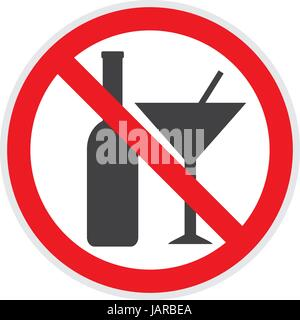 No alcohol sign in vector  depicting banned activities - Stock Photo