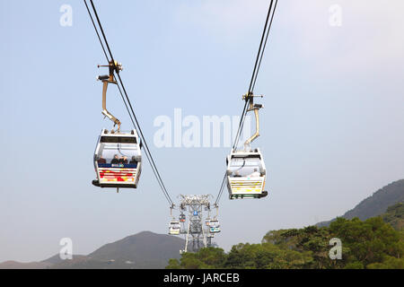 Ngong Ping 360 cable car on Lantau Island, Hong Kong - Stock Photo