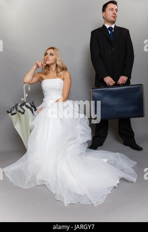 Bad relationship concept - married couple problem indifference depression and discord. Man woman in disagreement. - Stock Photo