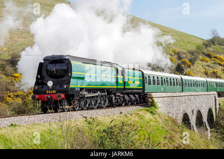 Southern Steam! Former Southern Railway and BR Bulleid Pacifics  on the Swanage Railway in May 2017 smokcommemorate - Stock Photo