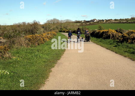 Padstow, Cornwall, UK - April 6th 2017: Cyclists and walkers enjoying the evening sunshine along the Camel Trail - Stock Photo