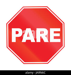Road sign used in Uruguay - Stop Sign. Pare means stop in Portuguese. - Stock Photo