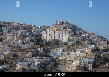 the picturesque mountain village of olympos on the greek island of karpathos - Stock Photo