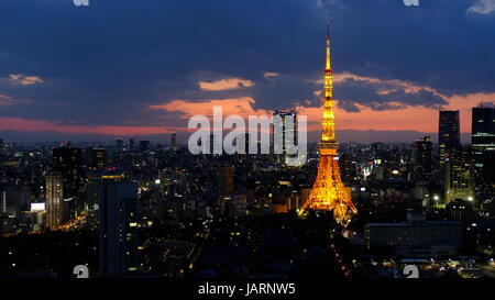 the majestic Tokyo Tower - Stock Photo
