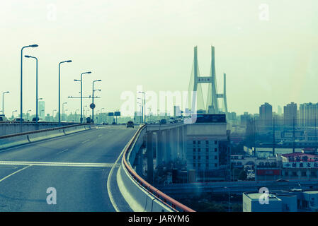 Nanpu Bridge, a cable-stayed bridge with semi-fan system and steel-reinforced concrete composite bridge, Pudong - Stock Photo