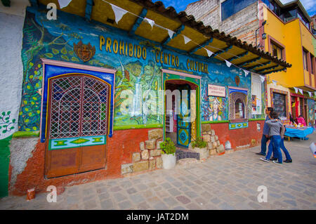 Cuenca, Ecuador - April 22, 2015: Cultural museum and cafe building, very colourful small townhouse. - Stock Photo