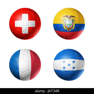 3D soccer balls with group E teams flags, Football world cup Brazil 2014. isolated on white - Stock Photo